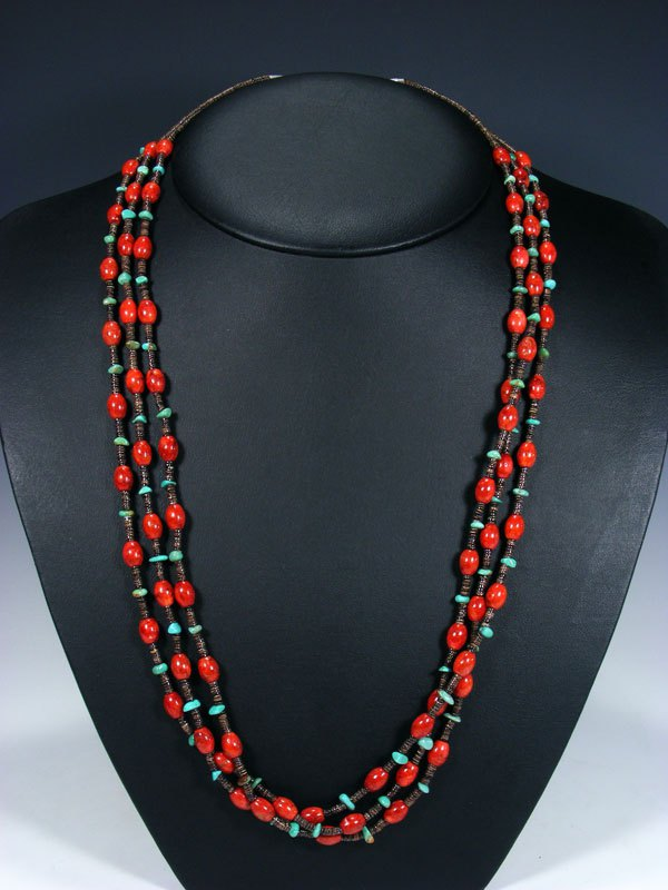 Native American Coral and Turquoise Three Strand Necklace