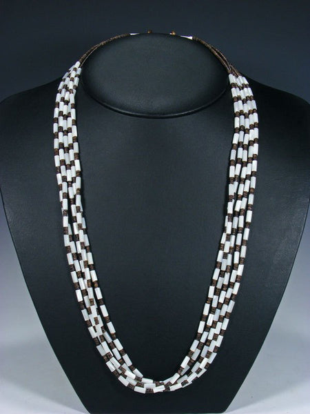 Native American Indian Santo Domingo Five Strand Mother of Pearl Necklace