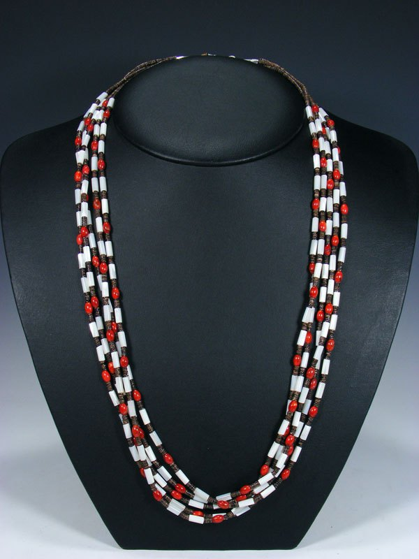 Native American Indian Santo Domingo Five Strand Mother of Pearl and Coral Necklace