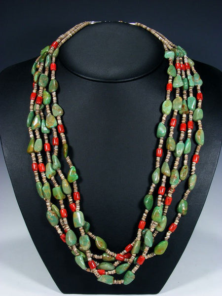 Native American Indian Santo Domingo Five Strand Turquoise and Coral Necklace