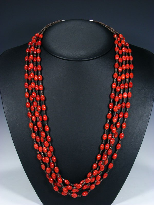 Native American Apple Coral Five Strand Necklace
