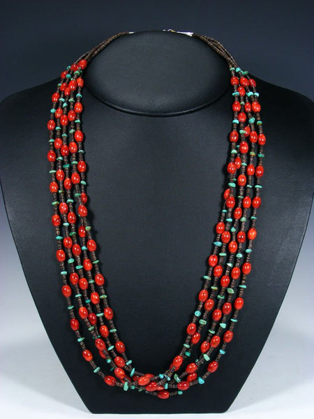 Native American Coral and Turquoise Five Strand Necklace