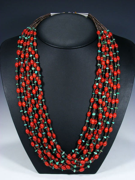 Native American Coral and Turquoise Ten Strand Necklace
