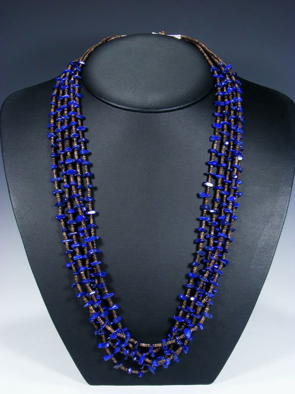 Native American Indian Santo Domingo Five Strand Lapis Necklace