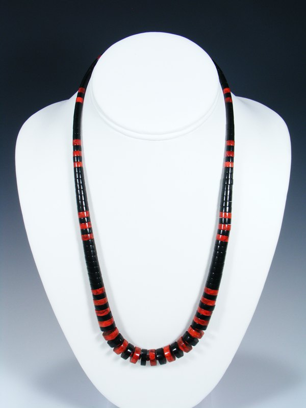Native American Indian Santo Domingo Black Jet Necklace