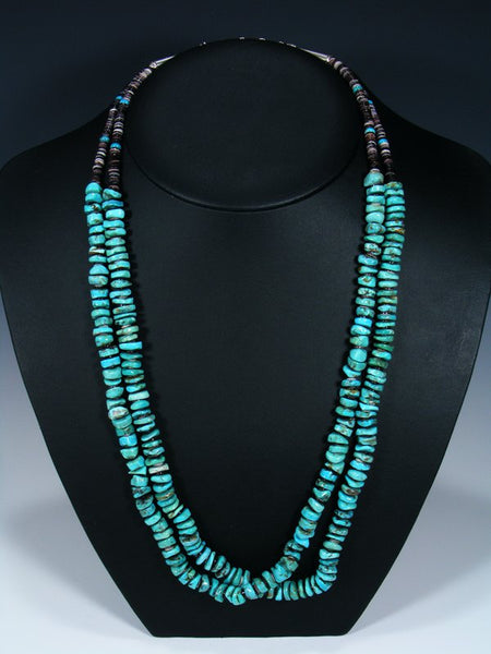 Double Strand Navajo Turquoise Bead Necklace