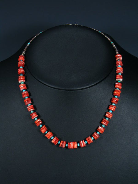 Native American Santo Domingo Spiny Oyster Turquoise Choker Necklace
