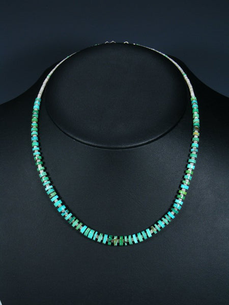 Native American Graduated Turquoise and Heishi Choker Necklace