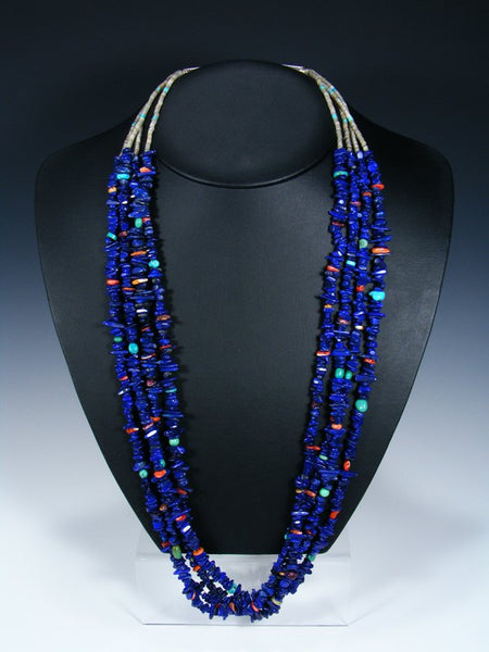 Native American Indian Santo Domingo Lapis Four Strand Necklace