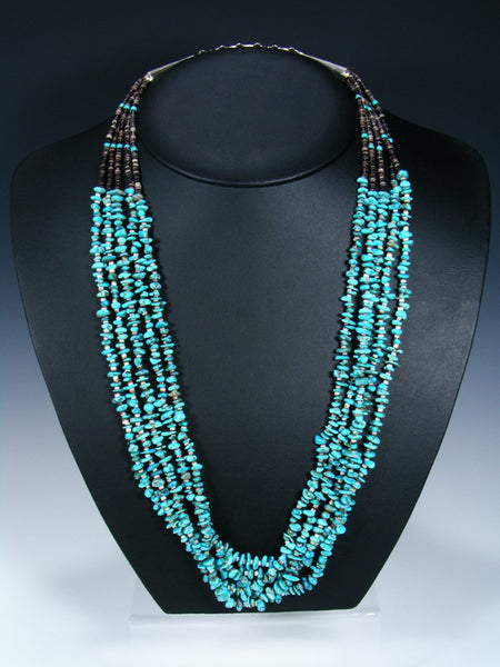 Native American Indian Turquoise Five Strand Necklace