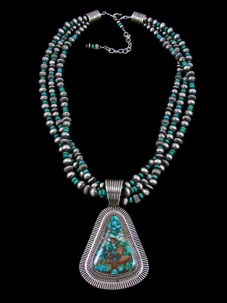 Native American Royston Turquoise Beaded Necklace Set