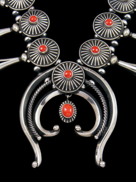 Native American Natural Coral Squash Blossom Necklace Set