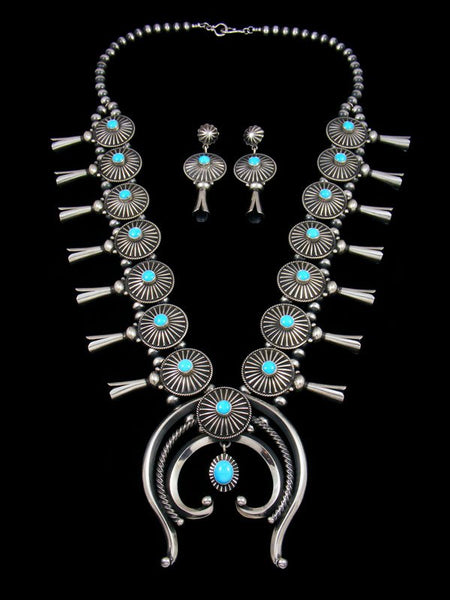 Native American Sleeping Beauty Turquoise Squash Blossom Necklace Set