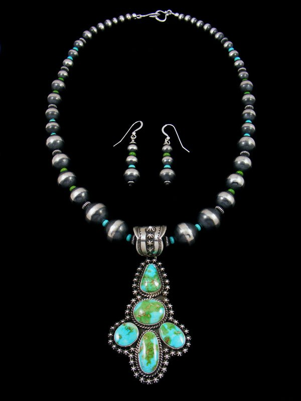 Native American Sonoran Gold Turquoise Necklace Set