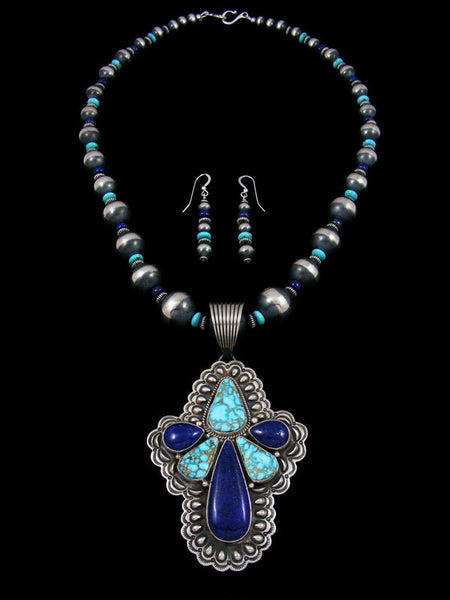 Native American Lapis and Kingman Turquoise Necklace and Earrings Set