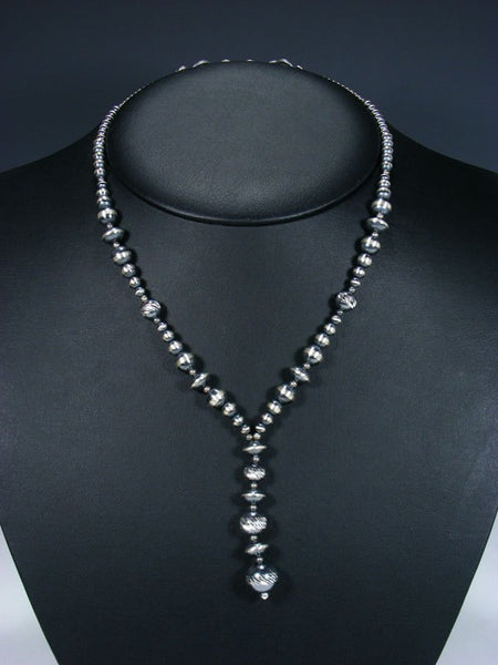 Native American Textured Silver Bead Lariat Necklace