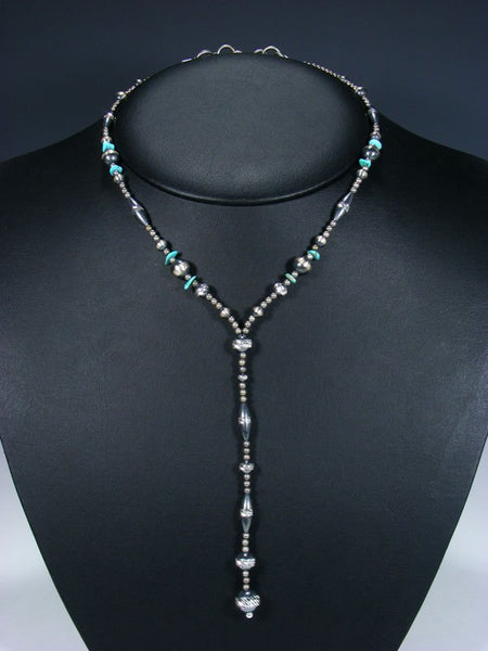Native American Turquoise and Silver Bead Lariat Necklace