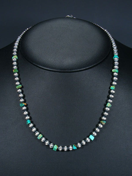 "20"" Native American Turquoise and Silver Bead Necklace"