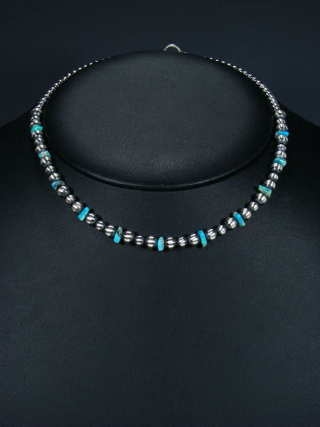 "16"" Native American Turquoise and Silver Bead Necklace"
