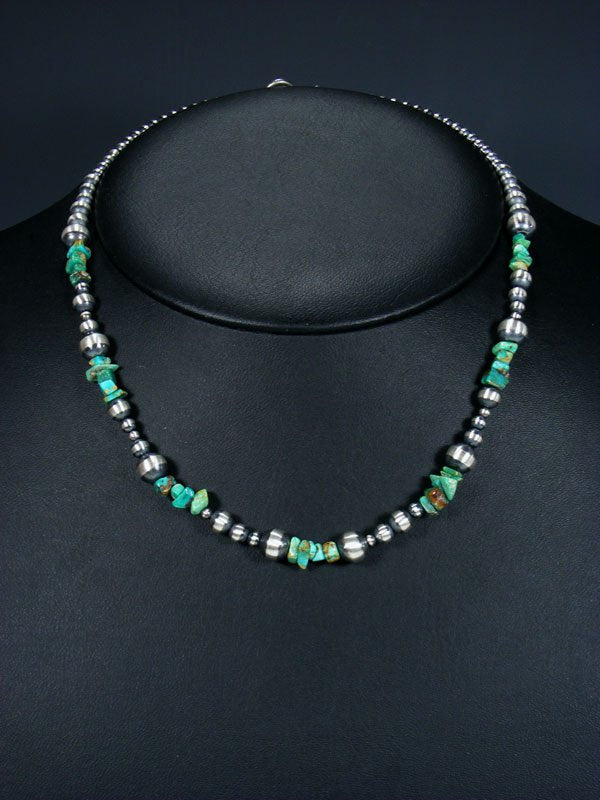 "18"" Native American Turquoise and Silver Bead Necklace"
