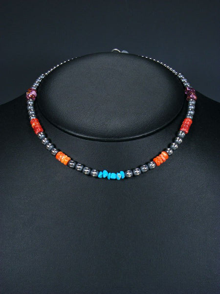 "16"" Native American Turquoise, Spiny Oyster and Silver Bead Necklace"