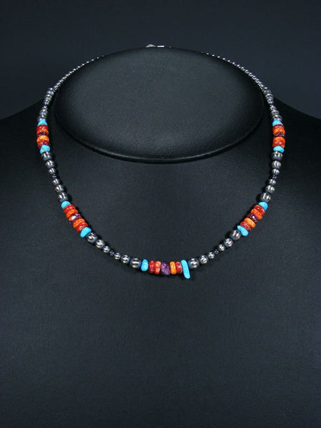 "18"" Native American Turquoise, Spiny Oyster and Silver Bead Necklace"
