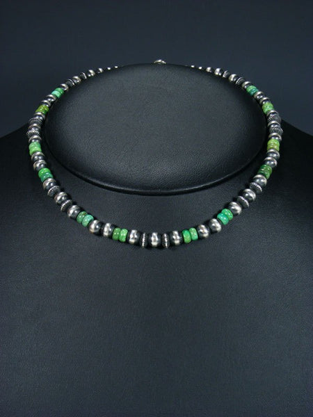 "16"" Navajo Green Turquoise Sterling Silver Bead Choker Necklace"