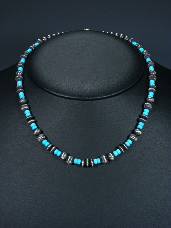 "18"" Navajo Turquoise Sterling Silver Bead Choker Necklace"
