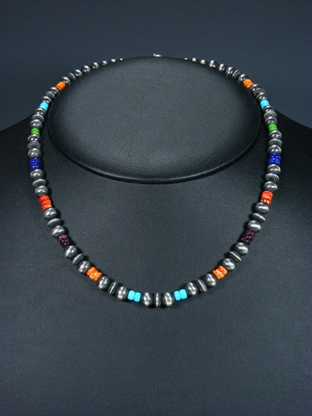 "18"" Navajo Multistone Sterling Silver Bead Choker Necklace"