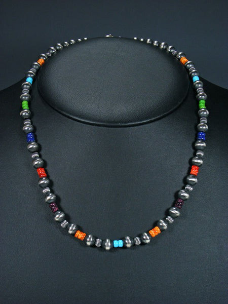 "20"" Navajo Multistone Sterling Silver Bead Necklace"