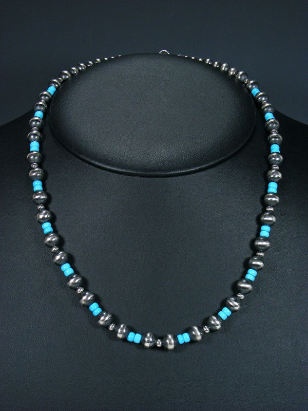 "20"" Navajo Turquoise Sterling Silver Bead Necklace"