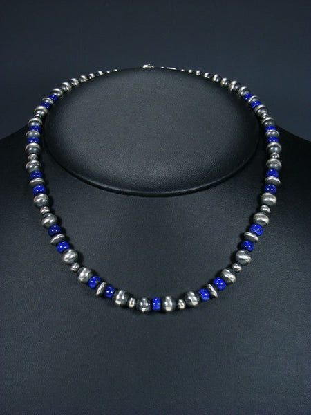 "18"" Navajo Lapis Sterling Silver Bead Choker Necklace"