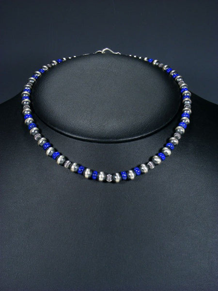 "16"" Navajo Lapis Sterling Silver Bead Choker Necklace"