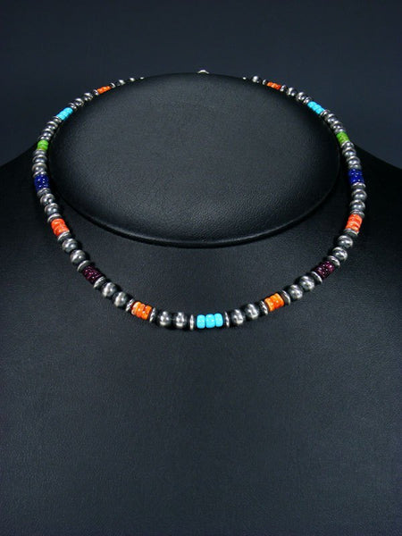 "16"" Navajo Multistone Sterling Silver Bead Choker Necklace"