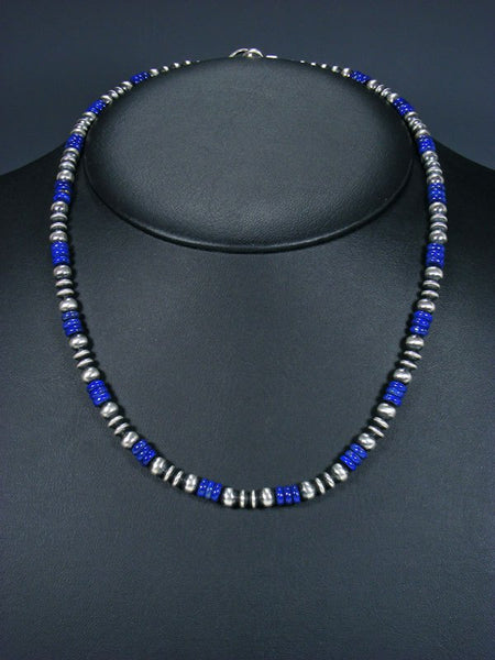 "20"" Navajo Lapis Sterling Silver Bead Necklace"