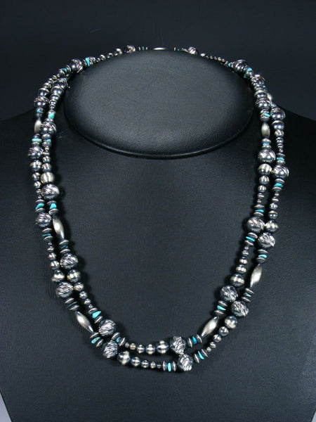 Long Native American Turquoise and Textured Silver Bead Wrap Necklace