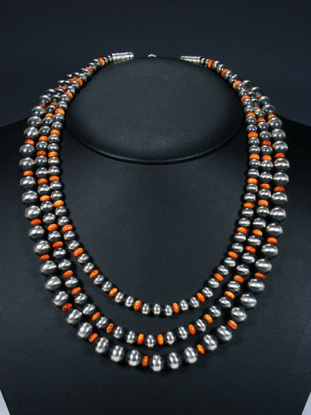 Navajo Spiny Oyster Three Strand Beaded Necklace