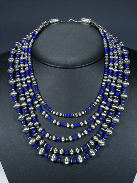 Navajo Lapis Five Strand Beaded Necklace and Earring Set