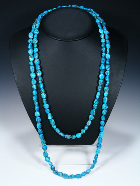 Native American Kingman Turquoise Long Wrap Necklace