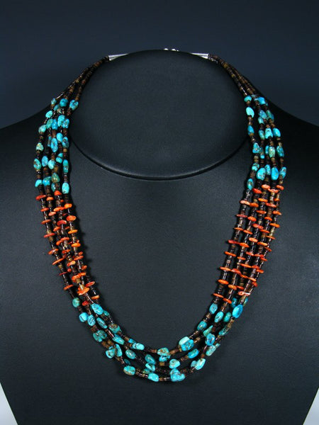 Native American Heishi Turquoise and Spiny Oyster Necklace