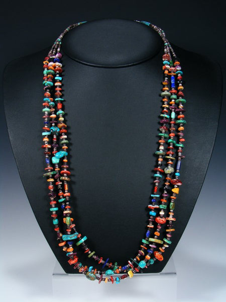 Native American Indian Multi-Stone Three Strand Necklace