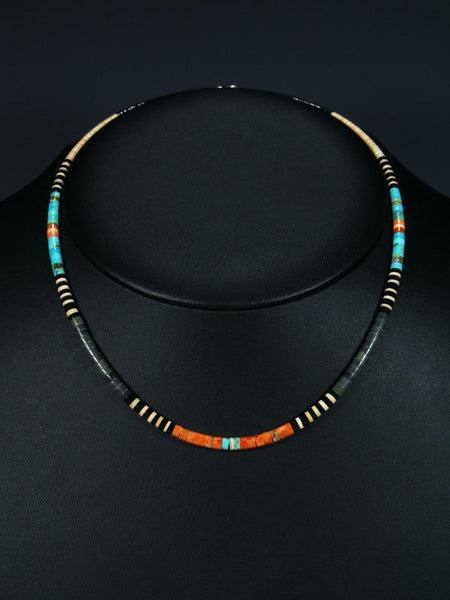 Native American Indian Bead Turquoise and Apple Coral Choker Necklace