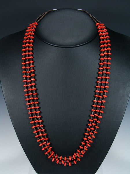 Native American Apple Coral and Shell Heishi Triple Strand Necklace