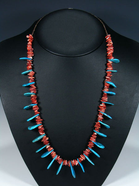 Native American Single Strand Turquoise and Spiny Oyster Necklace