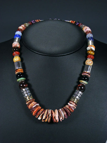 "21"" Spiny Oyster Large Single Strand Beaded Necklace"
