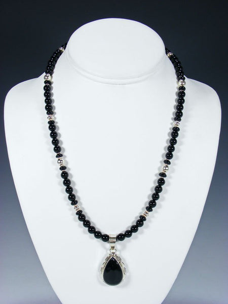 Native American Sterling Silver Black Onyx Beaded Necklace