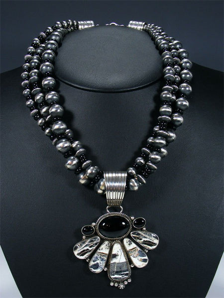 Native American White Buffalo and Black Onyx Necklace and Earrings Set
