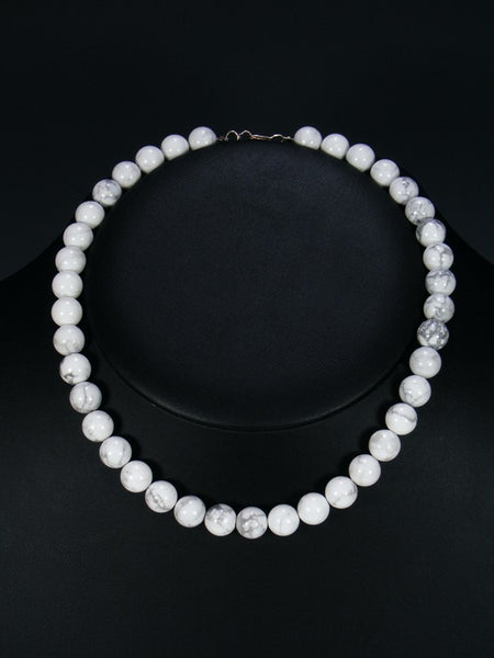 Native American White Marble Bead Necklace