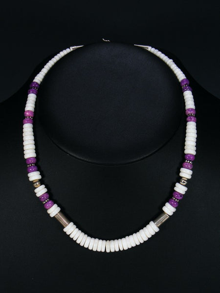 "White Marble and Dyed Jasper 18"" Single Strand Choker Bead Necklace"
