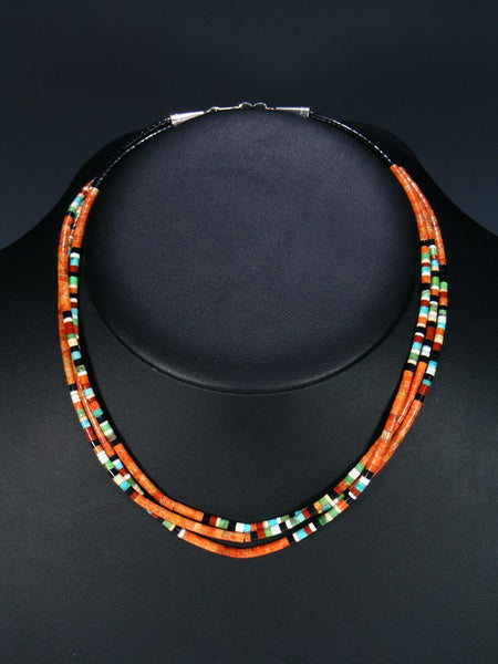 Native American Indian Bead Santo Domingo Apple Coral Necklace